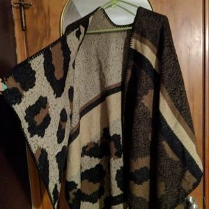 Leopard Open Front Cardigan Poncho Cape Coat